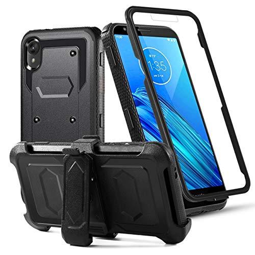 Toyouu for Moto E6 Phone Case, Moto E6 Case, Motorola Moto E6 Phone Case, Built-in[Full Coverage Screen Protector] [Kickstand] Swivel Belt Clip Holster Heavy Duty Sturdy Case, Black