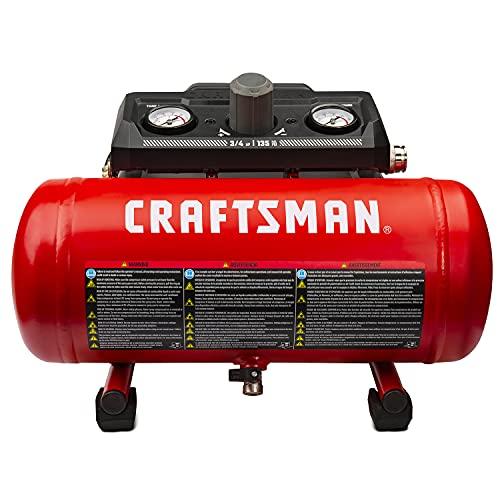 Craftsman 1.5 Gallon 3/4 HP Portable Air Compressor, Max 135 PSI, 1.5 CFM@90psi, Oil Free Air Tank, Electric Air Tool, CMXECXA0200141A , Red