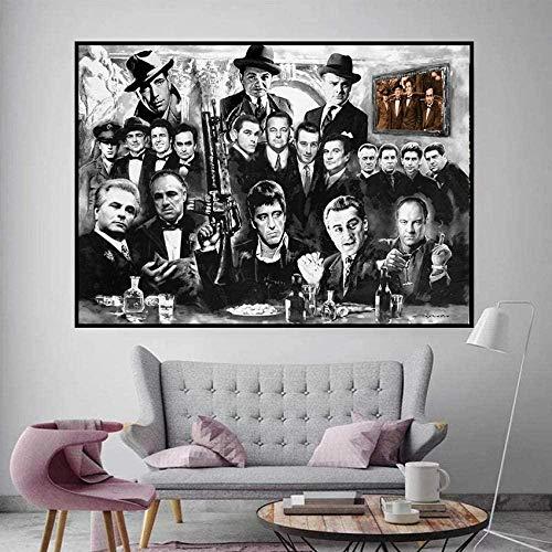 Poster Stampa Artistica, Poster E Stampe Dipinti Su Tela Arte Gangster Padrino Quei Bravi Ragazzi Al Pacino Immagini A Parete Del Film Per La Decorazione Domestica No Frame 50X70Cm,Parete Home Decor