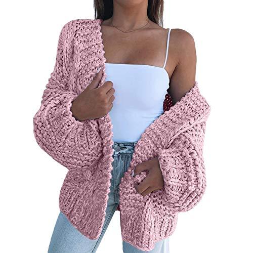 LPxdywlk Mode Winter Frauen Pullover Dicke Strickjacke Warme Einfarbig Mantel Offen Auf Der Vorderseite Casual Pullover rosa M