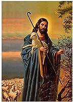 クロスイエスは羊のキャンバスの絵画を置きますヴィンテージの壁の写真クラシッククラシックポスターレトロなキャンバスプリントモダンな家の装飾40x60cmフレームなしHj
