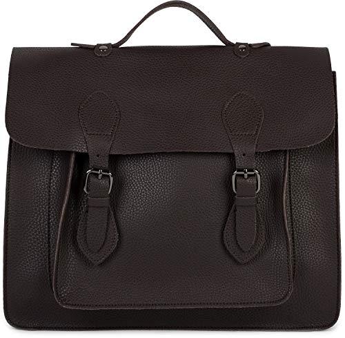 styleBREAKER Multifunktion Messenger Bag Umhängetasche mit Schnallen, Schultertasche, Rucksack, Aktentasche, Unisex 02012312, Farbe:Dunkelbraun