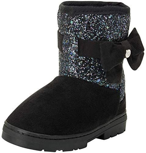 bebe Girls Winter Micro Suede Boots with Rhinestone Embellished Logo & Bow, Black Glitter, Size 7 Toddler