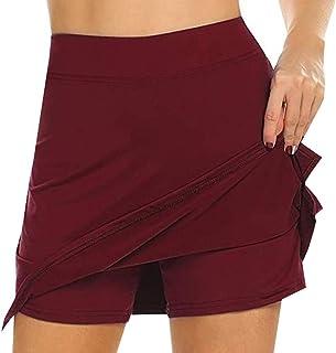 NIMIN Women's High Waist Athletic Skorts Lightweight Active Skirts Shorts Running Tennis Golf Workout Sports Burgundy Large