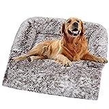 Sofá de felpa ultra suave para perro, cama de perro, manta mediana calmante para gatos, cojines desmontables y lavables para perros grandes y pequeños (120 x 90 x 20 cm), color café