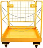 Sidasu Forklift Safety Cage 36x36 Inches Forklift Work Platform 1150LBS Capacity with 4 Universal Wheels Aerial Platform Collapsible Lift Basket Aerial Rails for Lifting Loader