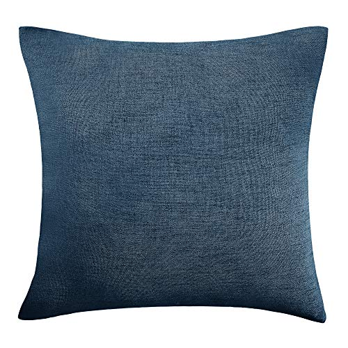 Deconovo Faux Linen Soft Pillow Case Covers with Invisible Zipper for Couch 18x18 Inch Majolica Blue