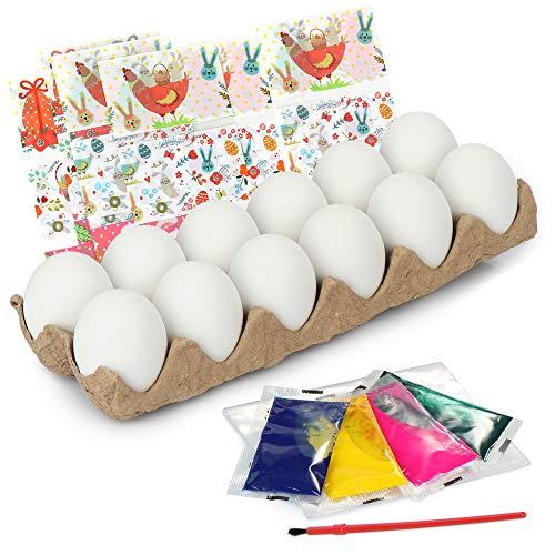 com-four® Juego de Pintura de Huevos de 48 Piezas, Huevos Decorativos con Pintura y Pincel, así como película retráctil para Decorar Huevos de Pascua (048 Piezas - Set de Pintura - Huevos de Pascua)