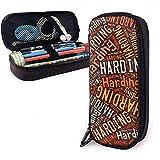 Harding - Estuche de lápices de cuero de alta capacidad de apellido americano, lápiz, lápiz, papelería, organizador, organizador de oficina, lápiz de maquillaje, bolsa de papelería para estudiantes