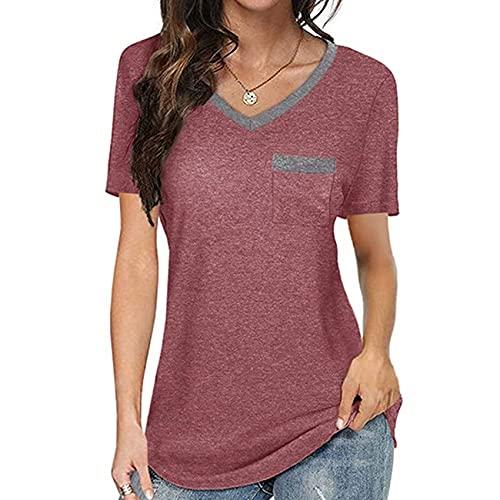 Camiseta Suelta Casual de Las señoras del Nuevo Bolsillo del V-Cuello a Juego del Color de Las Mujeres