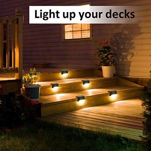 Solpex Solar Deck Lights Outdoor 16 Pack, Solar Step Lights Waterproof Led Solar Lights for Outdoor Stairs, Step , Fence, Yard, Patio, and Pathway(Warm White)