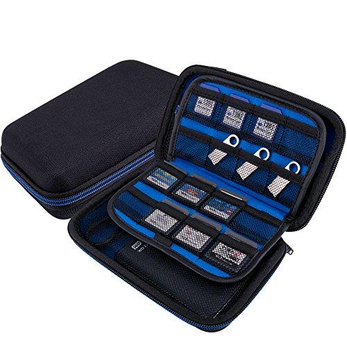 WOLVEN Game Konsolen/Game Card Eva Wasserdicht Stoßfest Hard Case Tasche für Nintendo DS Lite/DSL/DSi/3DS/3DSXL, Blau