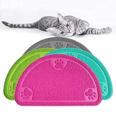 Authda Cat Litter Box Mats 36 x 60cm Durable Non-slip & Waterproof Litter Box Mat Cat Dog Food Mat Non Toxic Durable Protect Floor Carpet Cat Litter Tray Liner Semicircular Shaped Pink