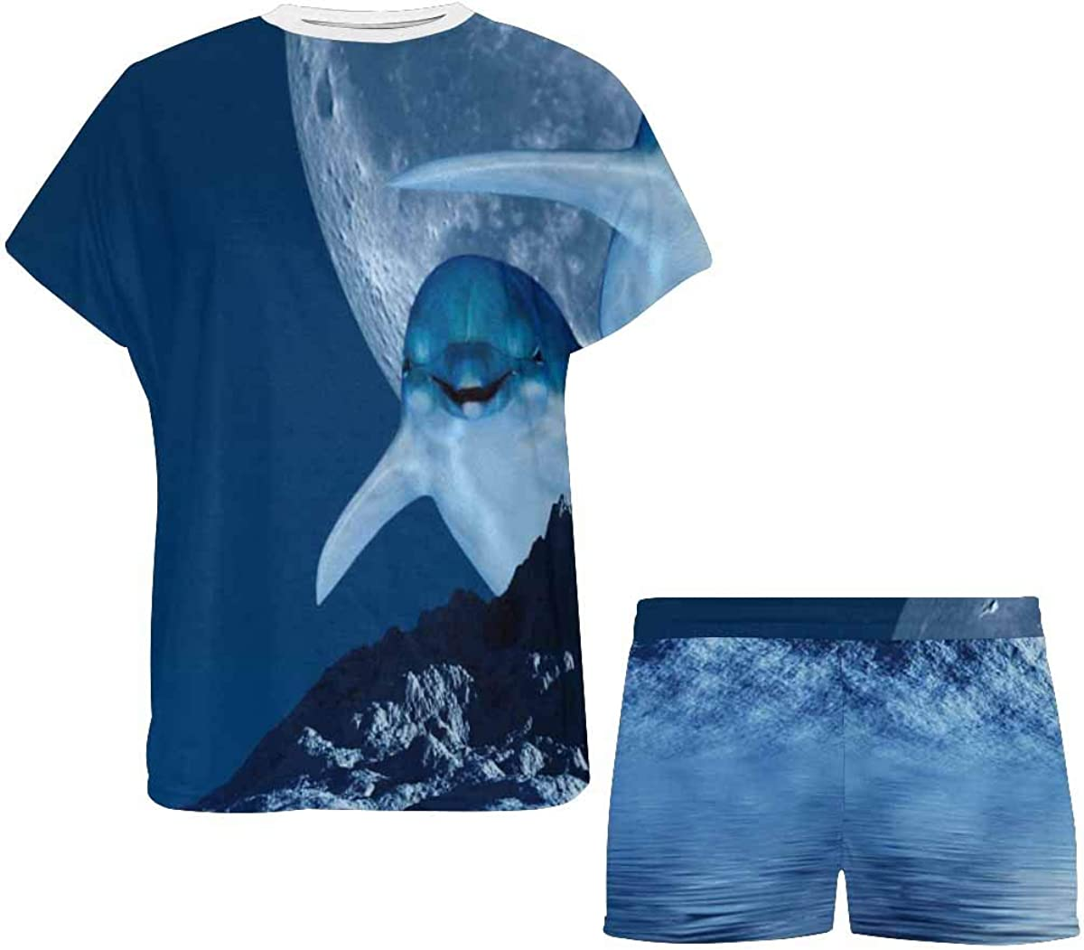 INTERESTPRINT Dolphins with Moon Women's Short Sleeve Breathable Sleepwear Two Piece Pajama Set