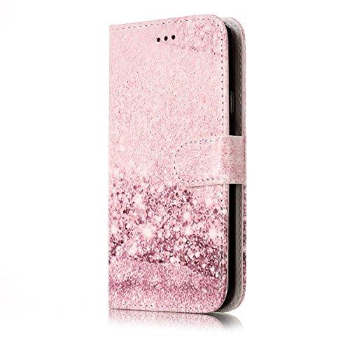 ISAKEN compatibile con Samsung Galaxy S5 Cover - Libro Wallet Flip Case con Colorate Pattern, Portafoglio Custodia in PU Pelle Cover con Supporto di Stand/Carte Slot/Chiusura, Marmo oro rosa