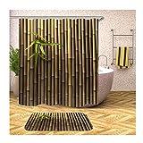 Anwaz Duschvorhang & Badteppich Set Anti-Schimmel aus Polyester Bambus Muster Design Badewannenvorhang Badezimmermatte Bunt mit 12 Duschvorhangringen für Badewanne - 165x200CM/ 40x60CM