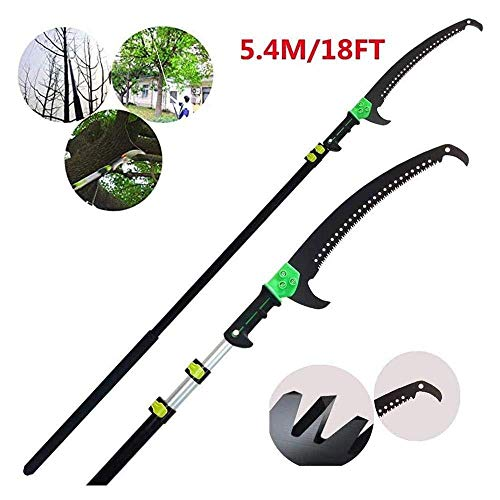 Scie D'élagage,18FT/5.4M Scie Élaguer Pour Manche Télescopique, Pliage Jardin Scie Bois Crochet+58 Cm Lame En Acier Trempé,Multi-Usages Extendable Pruning Saw,18 FT