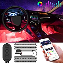 Interior Car Lights, Govee Car LED Strip Light Upgrade Two-Line Design Waterproof 4pcs 48 LED APP Controller Lighting Kits, Multi DIY Color Music Under Dash Car Lighting with Car Charger, DC 12V