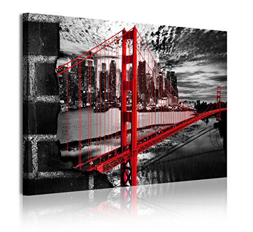 DekoArte 334 - Cuadros Modernos Impresión de Imagen Artística Digitalizada | Lienzo Decorativo Para Tu Salón o Dormitorio | Estilo Ciudades EEUU Golden Gate Blanco Negro Rojo | 1 Pieza 120 x 80 cm