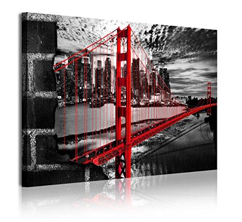 DekoArte Cuadros Modernos Impresión de Imagen Artística Digitalizada, Lienzo Decorativo para Tu Salón o Dormitorio, Estilo Ciudades EEUU Golden Gate Blanco Negro, multi rojo, 1 pieza (120x80x3cm)