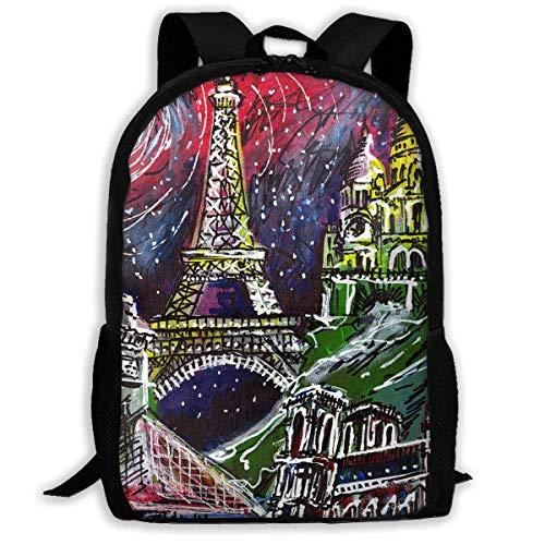 TTmom Schulrucksack,Schüler Bag,Rucksack Damen Herren Backpack Midnight In Paris Painting Zipper School Bookbag Daypack Travel Rucksack Gym Bag for Man Women