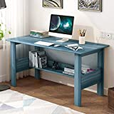 Luonita Computer Desk 39' Study Writing Table for Home Office,US Fast Shipment,Modern Simple Style Computer Desk Family Workstation, Small Table with Organize Shelves, Space Saving Design (Blue)
