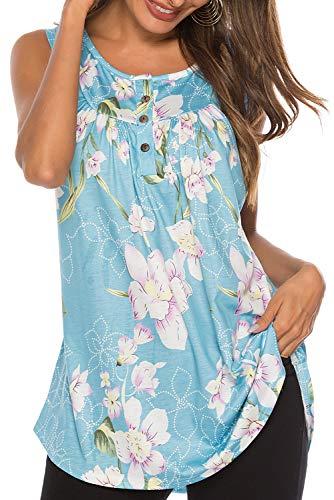 Bequemer Laden Damen T-Shirt Sommer Top Knopfleiste Bluse Einfarbig Kurzarm T-Shirt Casual Bluse Tunika Tops  Blume Hellblau,  XL