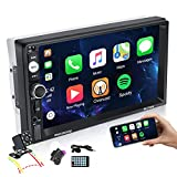 EKAT Double Din Car Stereo 7 inch Touchscreen Car Radio with CarPlay Bluetooth TF/USB/AUX Port, Phone Mirror Link, Steering Wheel Controls,Video Output,External Microphone + Rear View Camera