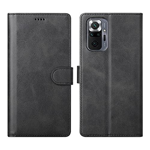 Cresee Funda compatible con Xiaomi Redmi Note 10 Pro, de piel sintética con 3 ranuras para tarjetas, cierre magnético, antigolpes (color negro)