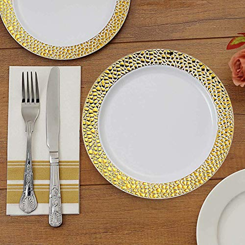 Efavormart 10 Pack | 7.5' White Disposable Plates Round Salad Plates with Gold Hammered Rim