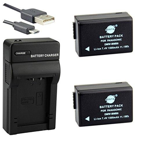 DSTE DMW-BMB9 Li-Ion Batería (2 Paquetes) Traje y Cargador Micro USB Compatiblepara Panasonic Lumix DMC-FZ40 DMC-FZ45 DMC-FZ47 DMC-FZ48 DMC-FZ60 DMC-FZ62 DMC-FZ70 DMC-FZ72