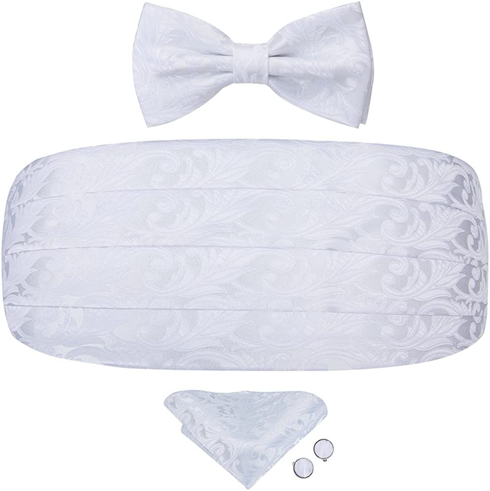WODMB Silk White Floral Corset Wide Belts for Tuxedo Men's Formal Wedding Party Dresses Cummerbunds and Bow Tie (Color : White, Size : One size)