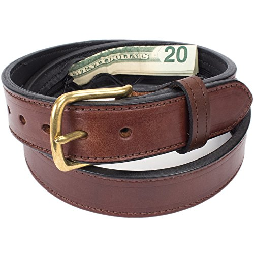 Hidden Money Pocket Travel Leather Belt (Size 34, Brown)