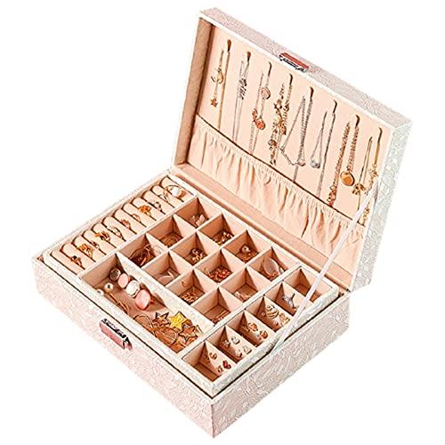 HUIJK Joyero Diseño de Moda Caja de joyería de Cuero Caja de joyería Paquete de joyería Almacenamiento Gran Espacio Joyería Anillo Collar Pulsera Cajas (Color : White 3)