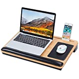 MIZUSO Laptop Lap Desk, Lap Desk for laptop with Mouse Pad & PU Leather Wrist Pad & Heat Dissipation , Home Office Student Use as Computer Laptop Stand, Book Tablet, Fits up to 15.6 inch Laptop(Black)