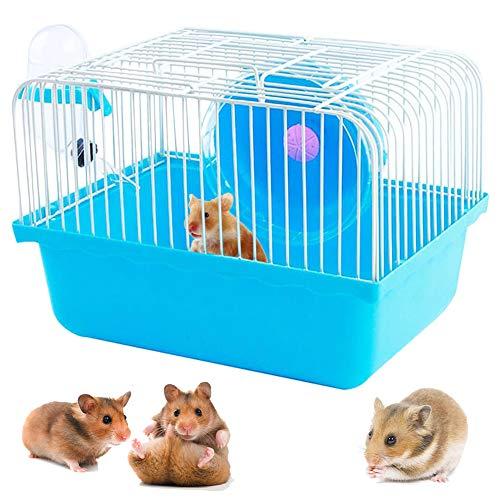 Jaula para Hamster, Jaula Hamster Caseta Bebedero Comedero para Jerbo, Rata, Chinchilla, 23 x 17 x 15 cm (Azul) (Naranja)
