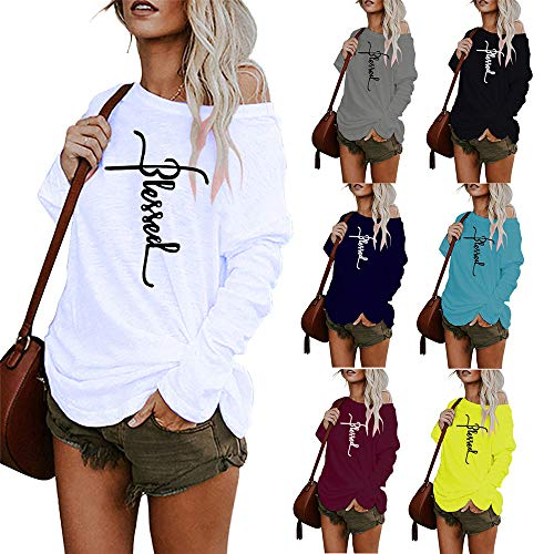 qulvyushangmaobu Women Long Sleeve Tshirts Ladies Jumpers Baseball Tops Round Neck Striped Pullover Women's Long Sleeve Loose Casual Tunic Tops Blouse Henley T Shirts Gray