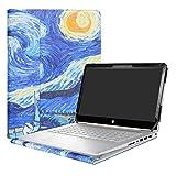 Alapmk Diseñado Especialmente La Funda Protectora de Cuero de PU para 14' HP Pavilion x360 14 14-baXXX 14m-baXXX Series Ordenador portátil,Starry Night