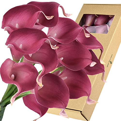 FiveSeasonStuff Real Touch Calla Lily Artificial Flowers Wedding Bridal Bouquet   Floral Arrangements   15 Calla Lilies (Blush Magenta)