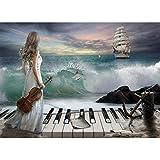 Diamant Mosaik Diamant Stickerei Blue Sea Piaino und Schönheit Frauen Bestickt Kreuzstich Home Decoration Geschenk 40 * 60Cm