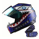 WOW Youth Motorcycle Full Face Helmet Street Bike BMX MX Kids Shark Blue + MX Skeleton Glove Bundle