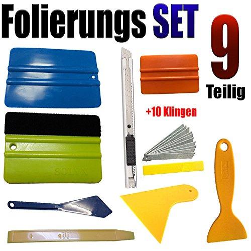 Folierung Rakel Set 9 Teilige Set - Profi FOLIERUNGS Set - Auto Folien - Aufkleber - Auto Folien + Wandtattoo + beklebung +Folierung + Scheiben tönen