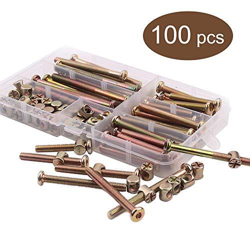 M6 x 40 mm / 50 mm / 60 mm / 70 mm / 80 mm verzinkt, Sechskant-Stecknuss-Kappen, Möbelschrauben, Muttern Sortiment für Möbel, Kinderbett, Betten, Kinderbett und Stühle, 100 Stück
