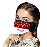 Winter Face_mask with Earmuffs, 2021 Happy New Year Print Plush Face Bandana Anti-dust Washable Dustproof Face Protection Face_Cover for Adult Women Men