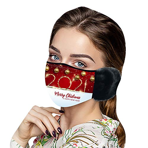 Zhihao 1PC Butterfly Print Warm Hair Ball Hanging Ear Face Covering Washable Reusable Face Scarf Anti-Dust Windproof Fog Smog Face Bandana for Running, Cycling, Outdoor Activities