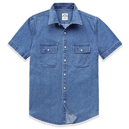Dubinik Jeanshemd Herren Denim Shirt Kurzarm Regular Fit