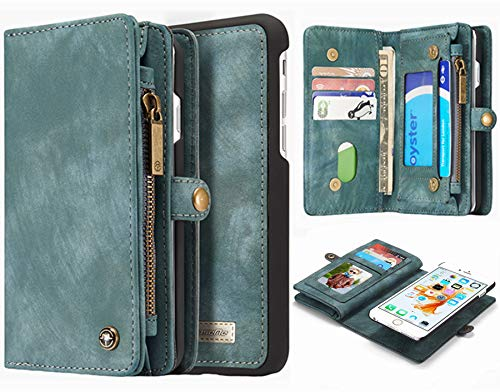 Hynice iPhone 6 Plus iPhone 6S Plus Detachable Wallet Case, Leather Purse for Women with Card Slots Zipper Pocket Removable Shockproof Shell Cover for iPhone 6 Plus 6S Plus 5.5(Army green008)