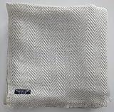 Annapurna Cashmere Couverture de luxe en cachemire 100 % laine de cachemire - 125 x 250 cm - Tissée à la main au Népal - Idéale comme couvre-lit ou plaid pour canapé et lit (chevrons blancs)