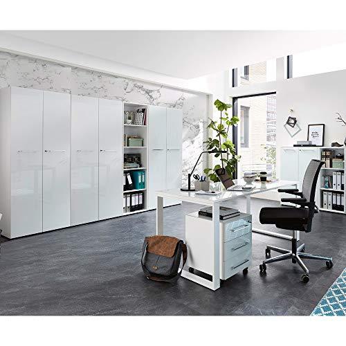 Lomadox Design Büromöbel Komplett-Set in weiß mit Glasfronten und Glasauflagen & 160cm Glas-Schreibtisch
