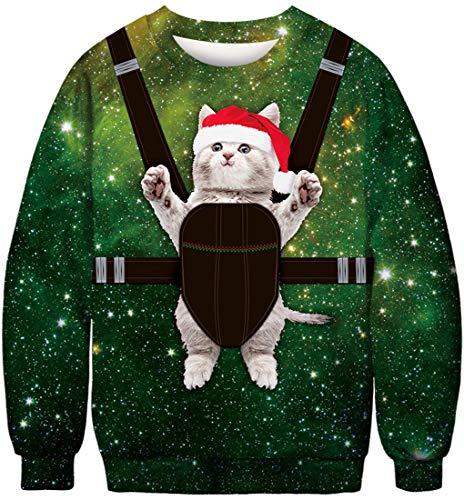 FLYCHEN Felpa Natale Donna Senza Cappuccio Stampato Funny 3D Christmas Colorata Funny Divertente Felpe Girocollo Casuale Ugly Cosplay Gatto bengee Jumping - XL